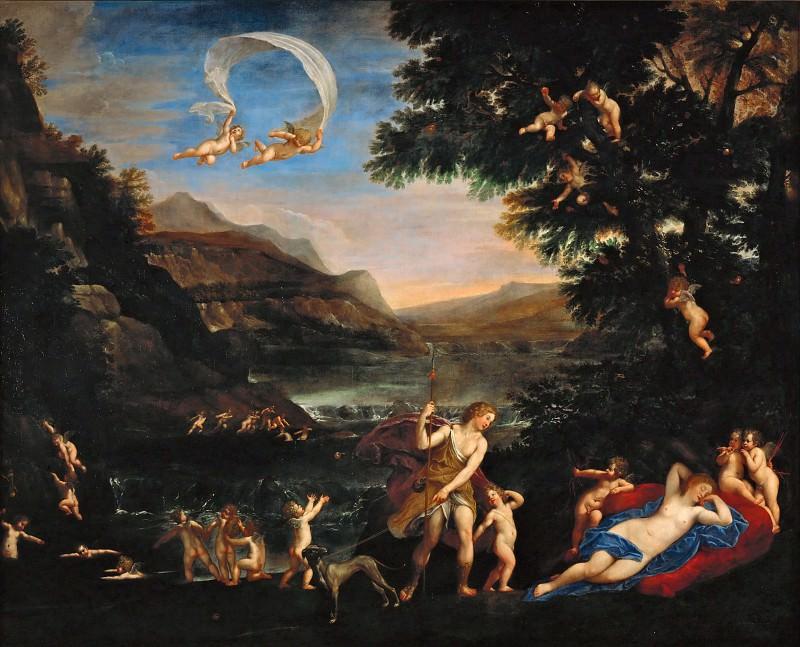 Francesco Albani (1578-1660) -- Venus and Adonis Led by Cupids. Part 6 Louvre