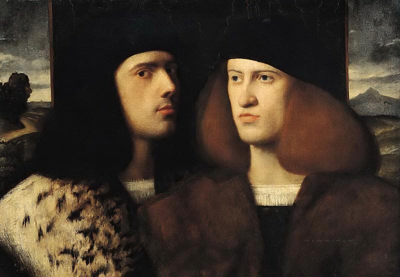 Итальянская школа (16 век) -- Двойной портрет молодых людей. Part 6 Louvre
