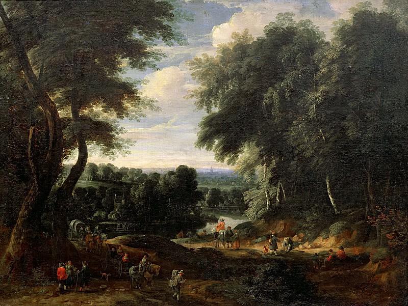 Артуа, Жак (Брюссель 1613-1686) -- Пейзаж с лесной дорогой в Одергем близ Брюсселя. Part 6 Louvre