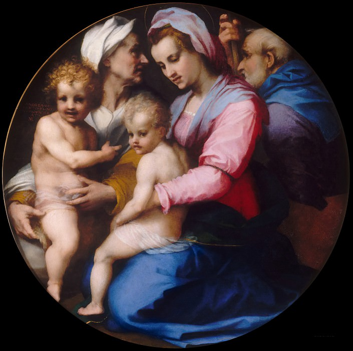 Andrea del Sarto -- Holy Family with Saint Elizabeth and young John the Baptist. Part 6 Louvre