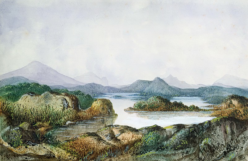 Санд, Жорж (1804-1876) -- Пейзаж с озером. Part 6 Louvre