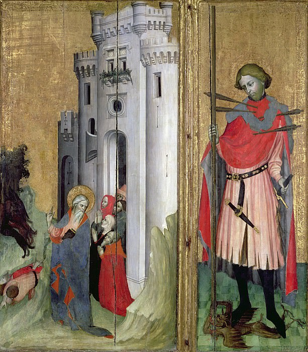 Провансальская школа (начало 15 века) -- Панель из Тузонского алтаря - Святой Андрей, изгоняющий демонов из Ниццы и святой Себастьян. Part 6 Louvre