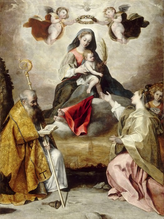 Studio of Federico Barocci -- Virgin and Child in Glory with Saint Anthony Abbott and Saint Lucy. Part 6 Louvre