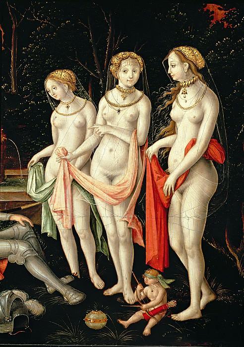 Герунг, Матиас (c.1500 Нердлинген - 1568-70 Лауинг) -- Разрушение Трои и суд Париса, фрагмент - Артемида, Гера и Афродита. Part 6 Louvre