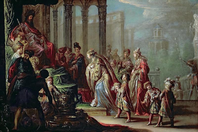 Виньон, Клод (1593 Тур - 1670 Париж) -- Соломон и царица Савская (или Есфирь пред Артаксерксом). Part 6 Louvre