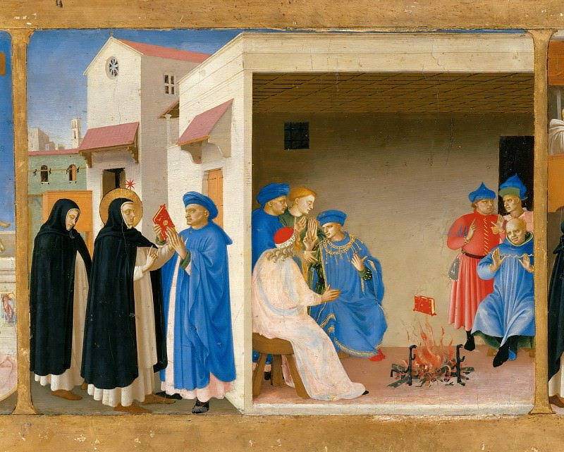Coronation of the Virgin, predella - The Dispute of Saint Dominic and the Miracle of the Book. Fra Angelico