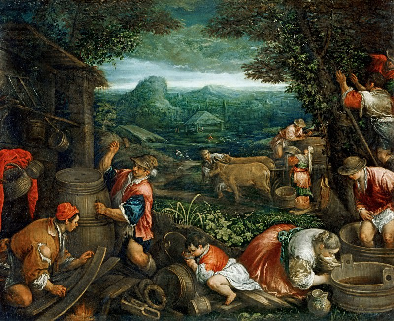 Jacopo Bassano il Vecchio (c.1510-1592) -- Autumn (Grape Harvest). Part 6 Louvre