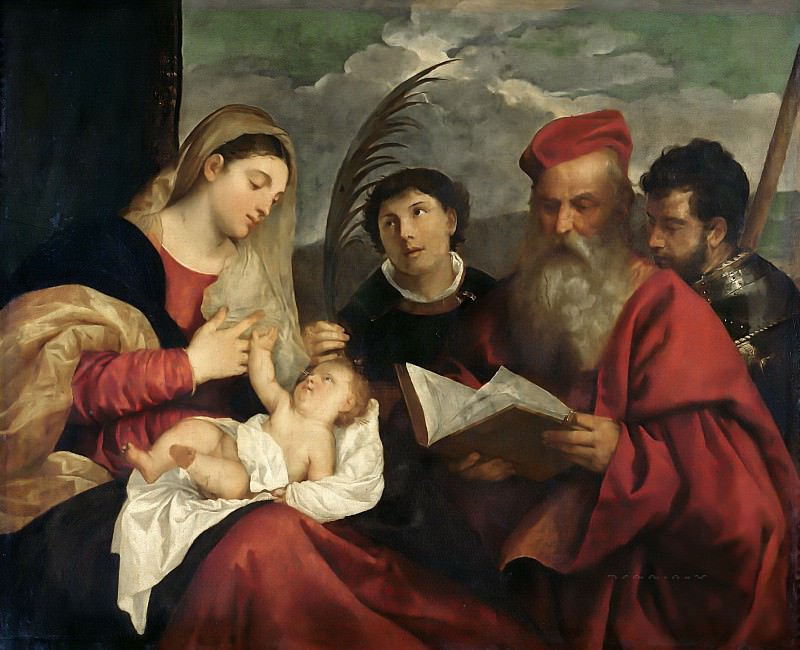Madonna and Child with SS. Stephen, Jerome and Maurice. Titian (Tiziano Vecellio)