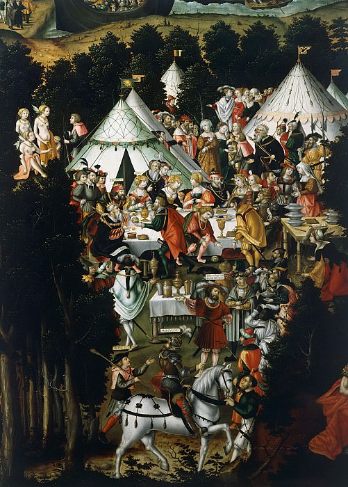 Герунг, Матиас (c.1500 Нердлинген - 1568-70 Лауинг) -- Разрушение Трои и суд Париса, фрагмент - Пир у царя Приама. Part 6 Louvre