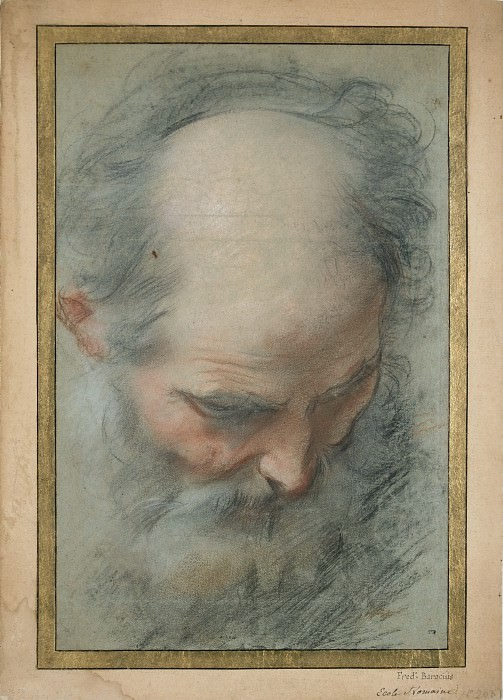 Federico Barocci -- Head of a bald and bearded old Man looking down. Part 6 Louvre