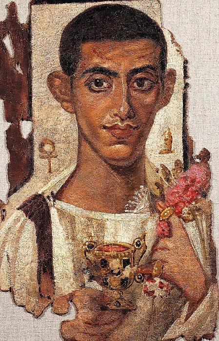 Египет (1-2 век) -- Портрет мужчины с цветами. Part 6 Louvre