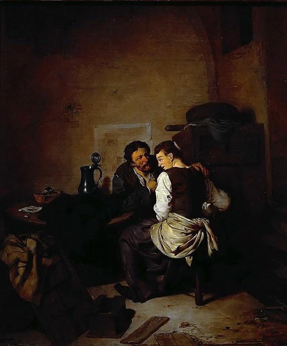 Бега, Корнелис Питерс (Харлем 1631-1664) -- Сцена в интерьере. часть 6 Лувр