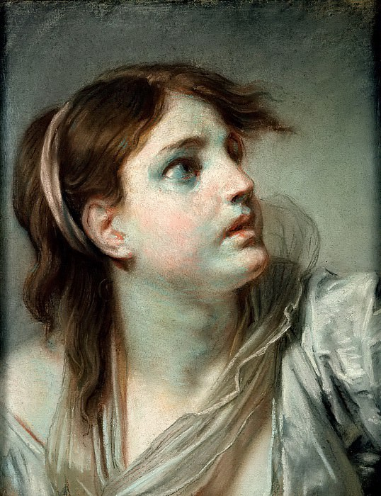 Грёз, Жан-Батист (1725 Турню - 1805 Париж) -- Голова девушки. Part 6 Louvre
