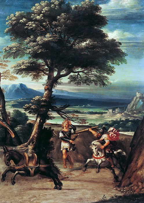 Виола, Джованни Баттиста (1576 Болонья - 1622 Рим) -- Пейзаж с Авессаломом, раненым копьем Иоава. Part 6 Louvre