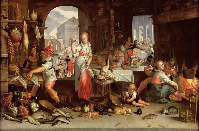 Втевал, Иоахим Антонис (Утрехт 1566-1638) -- Кухонная сцена с притчей о богаче и Лазаре. Part 6 Louvre