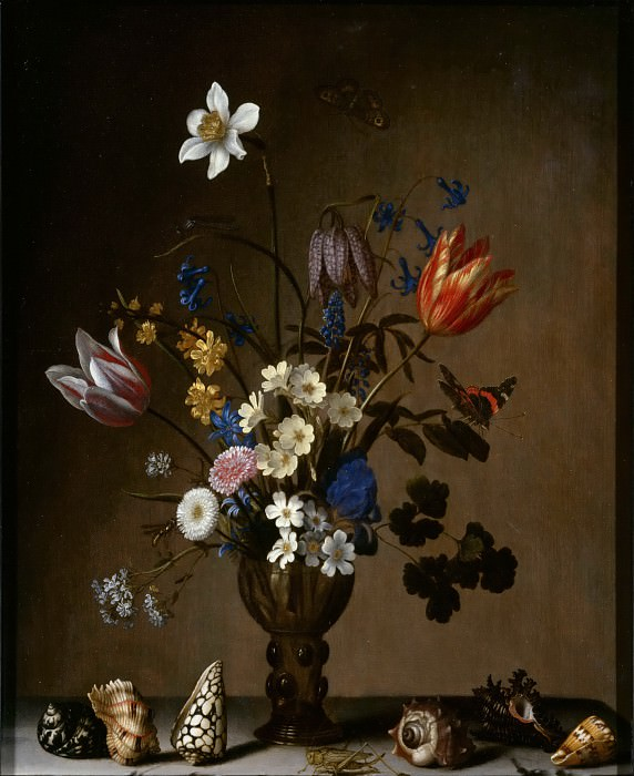 Balthasar van der Ast -- Bouquet of Flowers and Shells (Bouquet de fleurs et coquillages). Part 6 Louvre