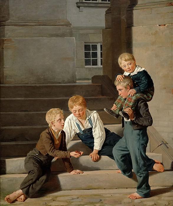 Хансен, Константин (1804-1880) -- Мальчики, играющие в кости у дворца Кристианборг. Part 6 Louvre