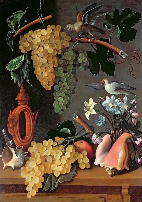Эспиноса, Хуан Баттиста де (c.1590 - c.1641 Мадрид) -- Натюрморт с виноградом, птицами, цветами и раковинами. Part 6 Louvre