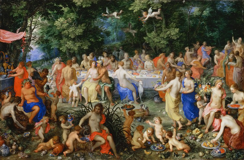 Hendrik van Balen I, landscape by Jan Brueghel the Elder -- Feast of the Gods (Le Festin des Dieux). Part 6 Louvre