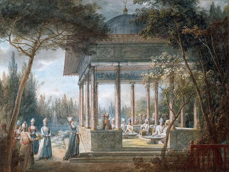 Jean-Baptiste Hilair -- Scene in a Harem (Goûter oriental dans un pavillon, dans un parc). Part 6 Louvre