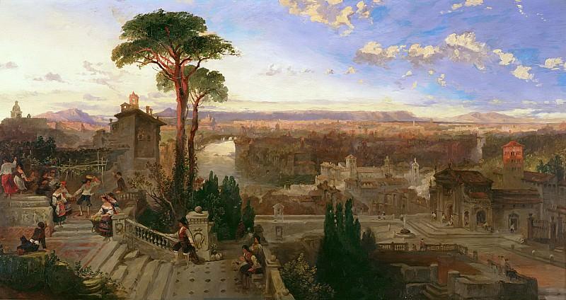 Робертс, Дэвид (1796 Стокбридж - 1864 Лондон) -- Вечерний вид на Рим из монастыря святого Онуфрия на горе Яникул. Part 6 Louvre
