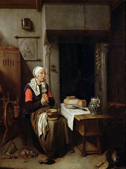 Брекеленкам, Кейринг Герритс ван (1622 Зваммердам - 1669 Лейден) -- Молитва перед трапезой. Part 6 Louvre
