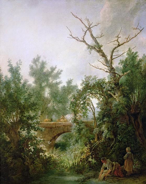 Юэ, Жан Батист (Париж 1745-1811) -- Прачка у моста. Part 6 Louvre
