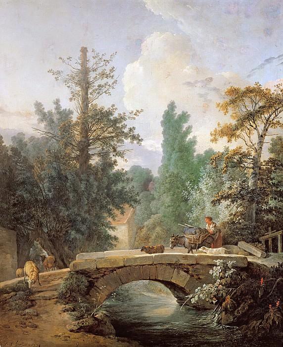 Юэ, Жан Батист (Париж 1745-1811) -- Крестьянка с ослом, идущие по мосту. Part 6 Louvre