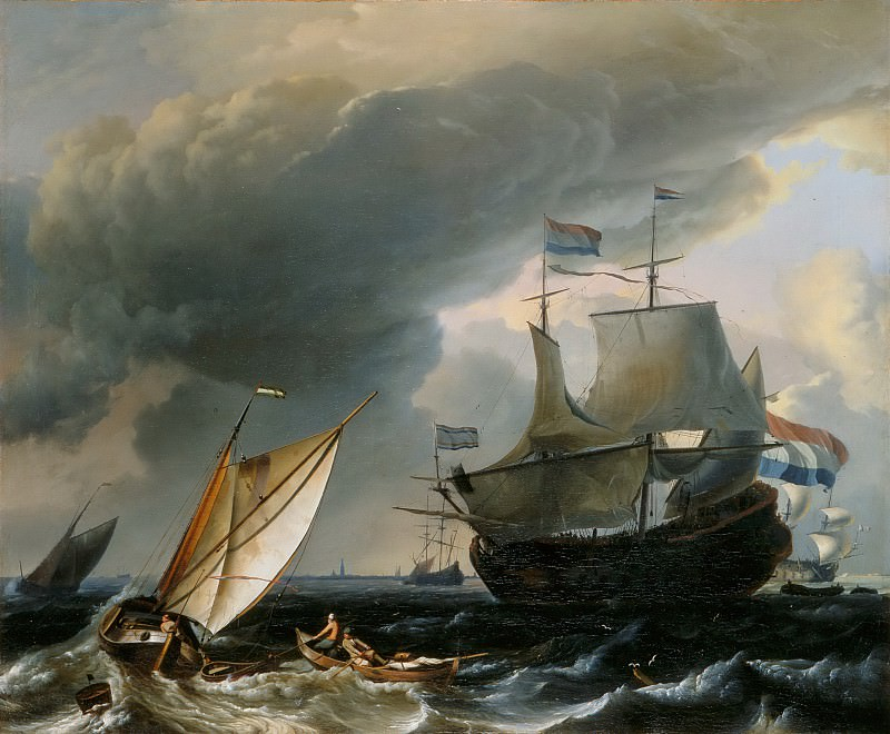Ludolf Backhuysen I -- Dutch ships off the coast of Amsterdam (Vaisseau Hollandais). Part 6 Louvre