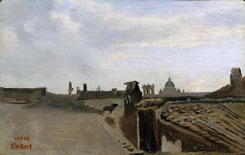 Rom. Blick aus dem Fenster Corots -- ca. 1826-28; Öl auf Papier auf Tannenholz, 14, 5 x 23, 1 cm. Part 6 Louvre