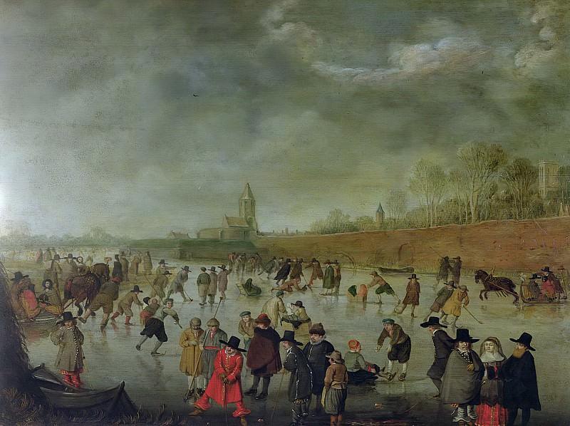 Аверкамп, Барент (Кампен c.1612-1679) -- Зима в Кампене. Part 6 Louvre