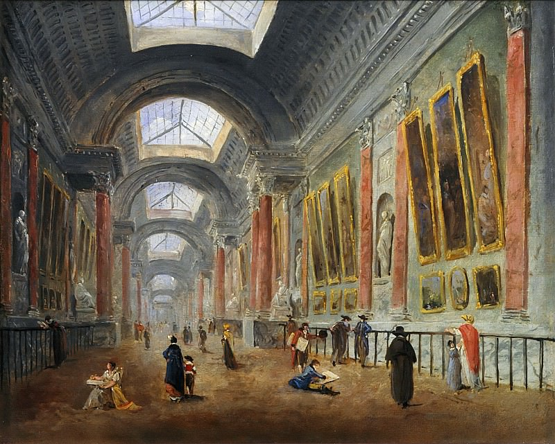 Hubert Robert, an artist who specialized in paintings of ruins, was on the committees charged with deciding how to renovate the Grande Galerie. He painted at least nine potential versions, which are hard to date accurately. Here Robert took up De Wailly?s Serlian motif and retained the niches flanked by pilasters. This arrangement, which can still be seen today, was only executed in the early 19th century by Napoleon?s architects, Percier and Fontaine (the niches and pilasters were not installed until 1945). -- Proposed Renovation of the Grande Galerie-circa 1796-1798 ? Oil on canvas ? Department of Paintings, Musée du Louvre, Paris (RF 2050). Part 6 Louvre
