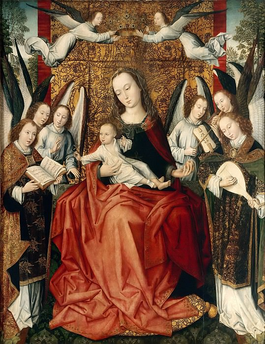 Master of the Embroidered Foliage -- The Virgin and Child surrounded by angels. Part 6 Louvre