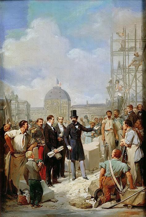 Госсе, Никола (1787-1878) -- Наполеон III посещает работы в Лувре. Part 6 Louvre