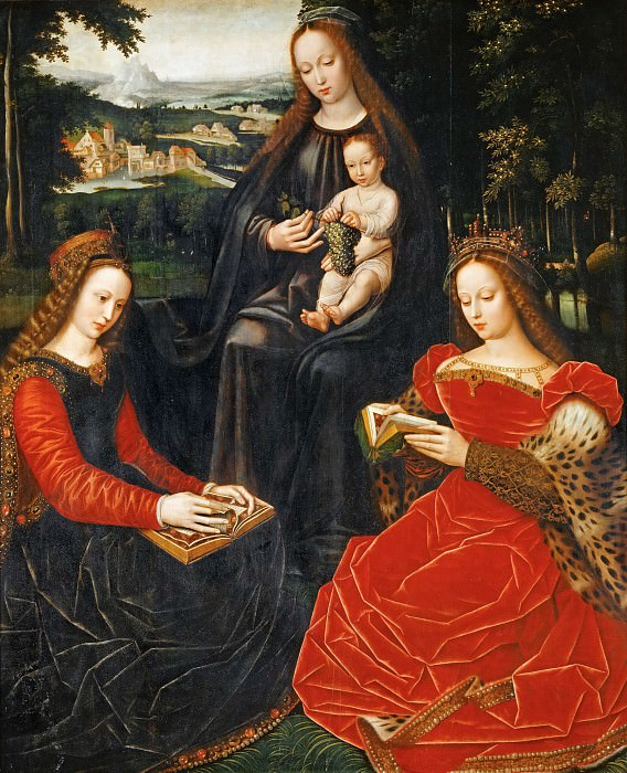 Ambrosius Benson (c. 1495-before 1550) -- Virgin and Child with Saints Catherine of Alexandria and Barbara. Part 6 Louvre