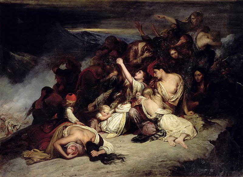 Шеффер, Ари (1795 Дордрехт - 1858 Аржантей) -- Отчаявшиеся женщины на скалах побережья деревни Румели (Крит) во время нападения турецкого флота. Part 6 Louvre
