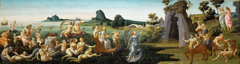 Bartolomeo di Giovanni (active 1488-c. 1500) -- Wedding Procession of Thetis, cassone panel. Part 6 Louvre