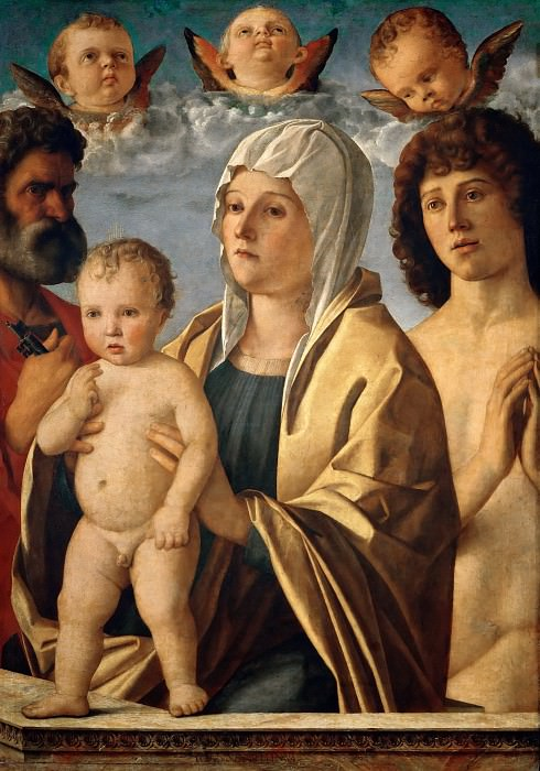 Giovanni Bellini (c.1433-1516) -- Madonna and Child with Saints Peter and Sebastian. Part 6 Louvre