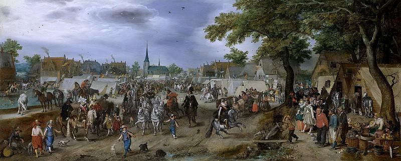 Venne, Adriaen Pietersz. van de -- De prinsen van Oranje Maurits en Frederik Hendrik op de paardenmarkt te Valkenburg, 1618. Rijksmuseum: part 1
