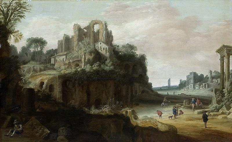 Groenewegen, Pieter Anthonisz -- Romeins landschap met links de Palatinus en rechts gedeelten van het Forum Romanum, 1630 - 1657. Rijksmuseum: part 1