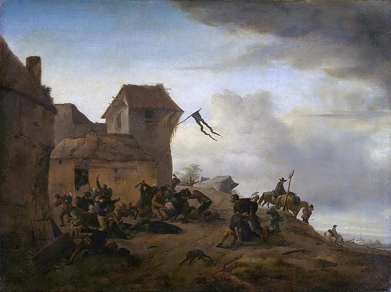 Wouwerman, Philips -- Vechtende boeren bij een dorp, 1650-1668. Rijksmuseum: part 1