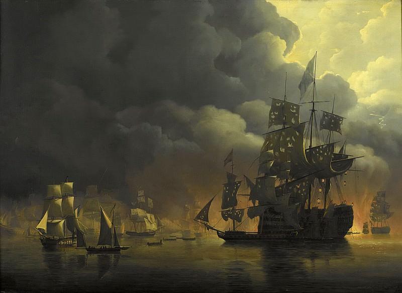 Baur, Nicolaas -- De Engels-Nederlandse vloot onder Lord Exmouth en vice-admiraal Jonkheer Theodorus Frederik van Capellen stelt de Algerijnse fortificaties buiten gevecht, 1818. Rijksmuseum: part 1