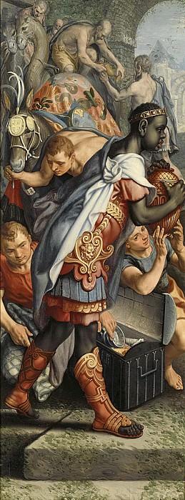 Питер Артсен -- Створка запрестольного образа со сценой упрашивания королевы о посвящении образа храму, 1560-65. Рейксмузеум: часть 1