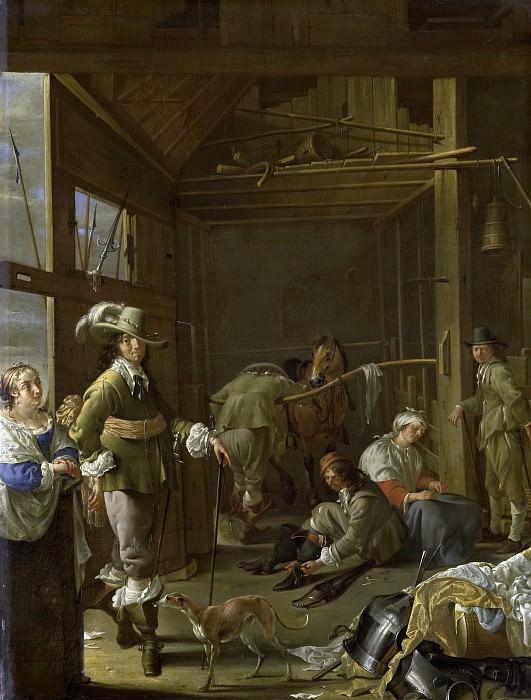 Duck, Jacob -- Krijgslieden in een paardestal, 1655. Rijksmuseum: part 1