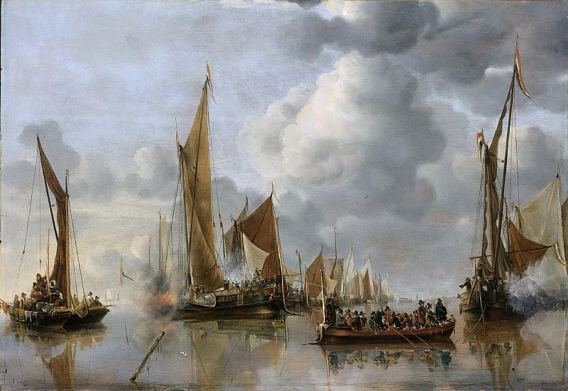 Cappelle, Jan van de -- Begroeting van de regeringssloep door de binnenvloot, 1650. Rijksmuseum: part 1