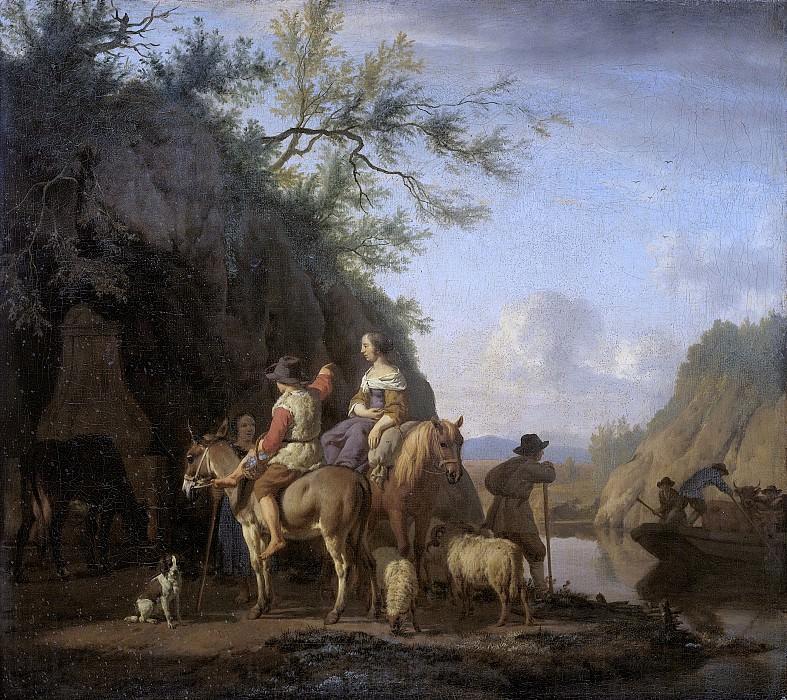 Velde, Adriaen van de -- Het ponteveer, 1666. Rijksmuseum: part 1