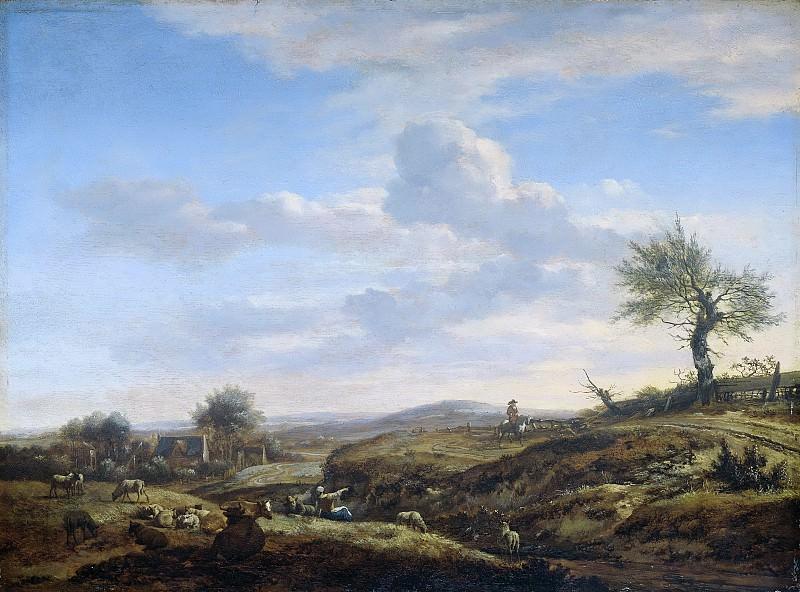 Velde, Adriaen van de -- Heuvelachtig landschap met hoge weg, 1660-1672. Rijksmuseum: part 1