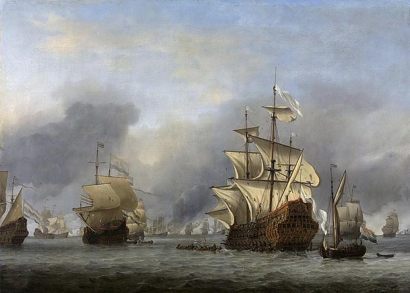 Velde, Willem van de (II) -- De verovering van het Engelse admiraalsschip de 'Royal Prince' 13 juni 1666, 1670. Rijksmuseum: part 1