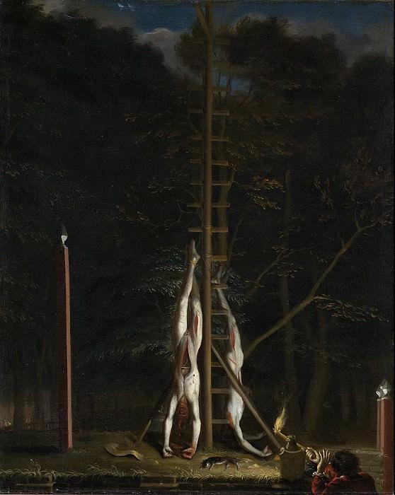 Ян де Бан -- Похоже на братьев де Витт, подвешенных у Груне Зодье на холме Вейверберг в Гааге, 1672, 1672-75. Рейксмузеум: часть 1