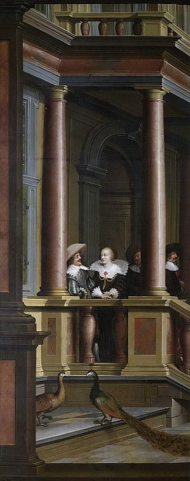 Дирк ван Делен - Наружная лестница с левой стороны замка. Впереди изображение семи помещений замка, 1630-32. Рейксмузеум: часть 1